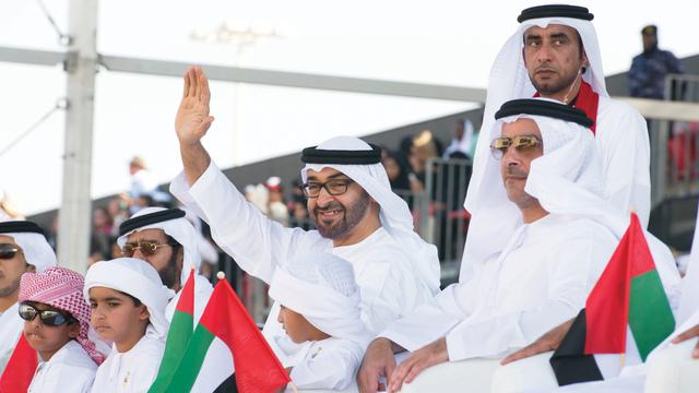الصورة : محمد بن زايد وطحنون بن محمد  وسيف بن زايد خلال افتتاح مهرجان زايد التراثي