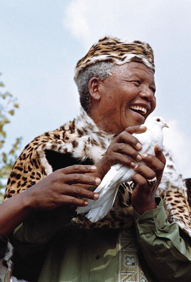 يحمل حمامة السلام في ذكرى مجزرة ارتكبت ضد السود في جنوب إفريقيا العام 1994 أ.ف.ب