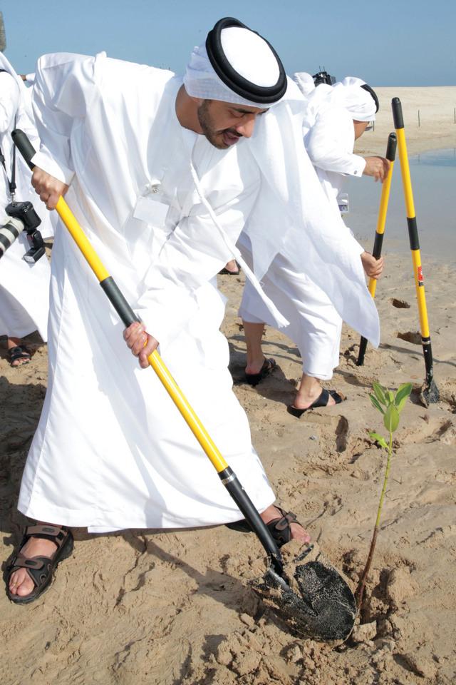 الصورة : ..وعبدالله بن زايد يزرع شجرة