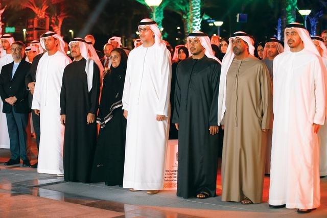 الصورة : عبدالله بن زايد واحمد بن سعيد ولبنى القاسمي وسلطان بن طحنون والمنصوري خلال حفل الاستقبال تصوير- مجدي اسكندر