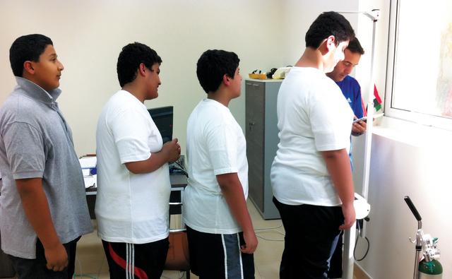 خلال فحص الطلبة وتحديد مؤشر كتلة الجسم لديهم                البيان
