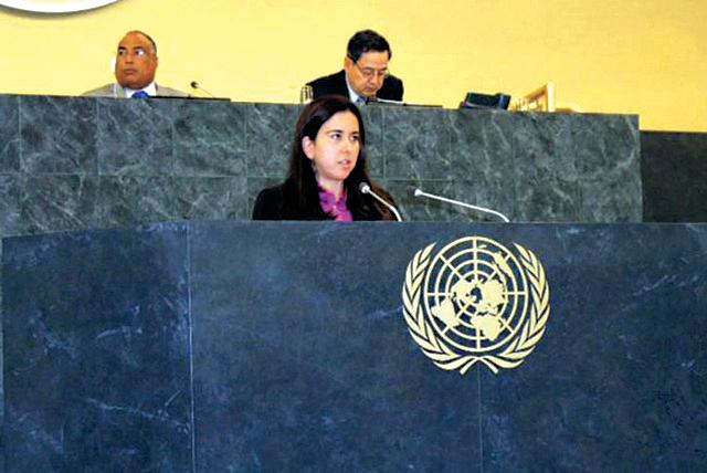الصورة : لانا نسيبة تلقي كلمة الدولة في لقاء عن المرأة   في الأمم المتحدة