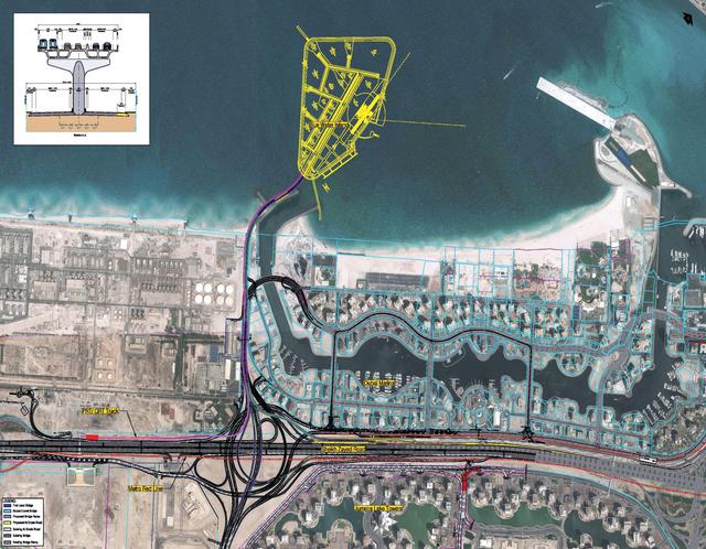مخطط  مداخل مشروع جزيرة بلووترز
