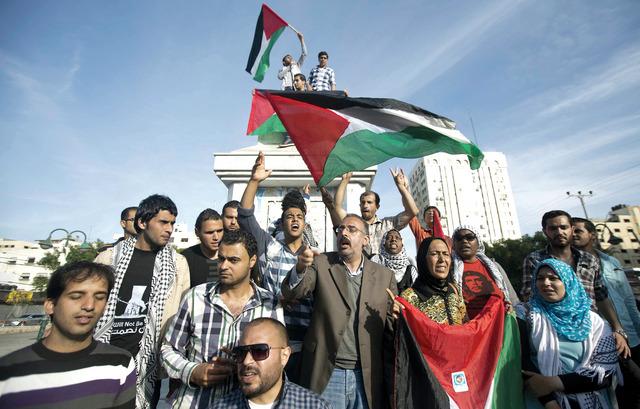 جانب من الاحتفالات في غزة ابتهاجاً بالاتفاقأ.ف.ب