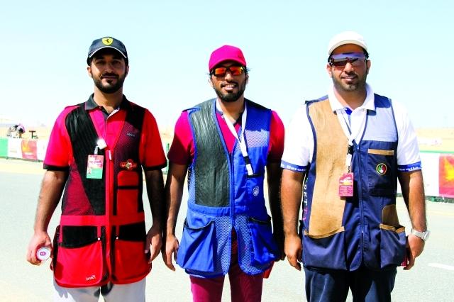 الصورة : ثلاثي رماة الإمارات عبيد بن ضاوي وراشد عبدالله وعبدالله الزحمي    -  البيان