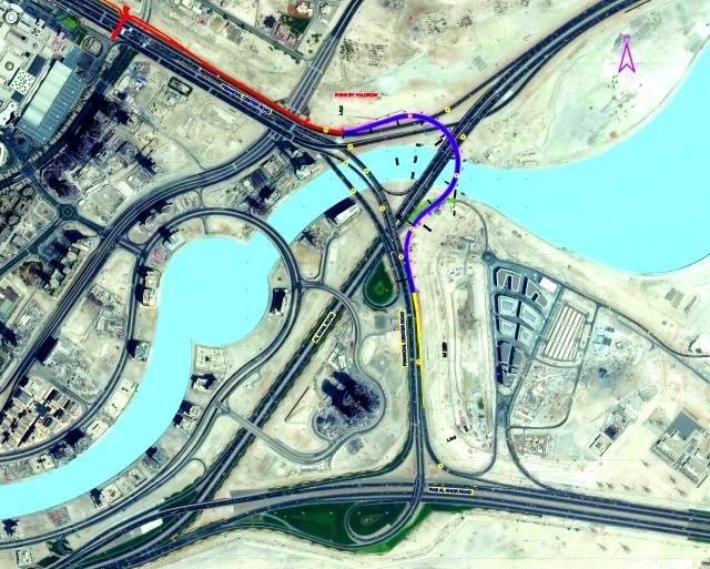 الصورة : ■ مخطط لمشروع الجسر المؤدي من شارع الخيل لشارع المركز المالي     من المصدر