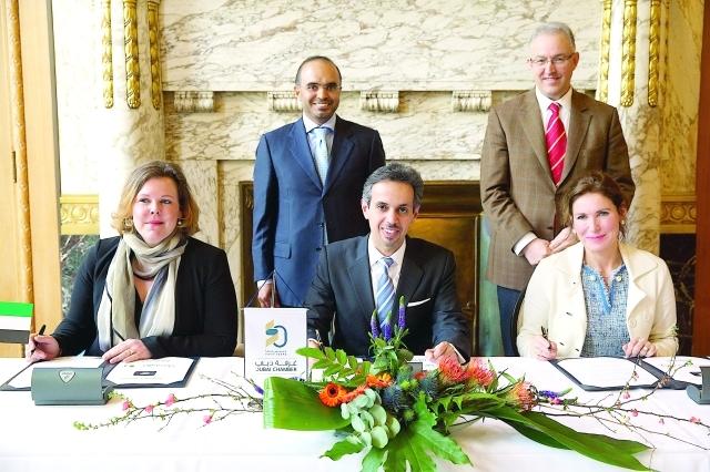 الصورة : Ⅶ خلال توقيع مذكرة تفاهم مع غرفة تجارة هولندا ومؤسسة شركاء روتردام   |  البيان