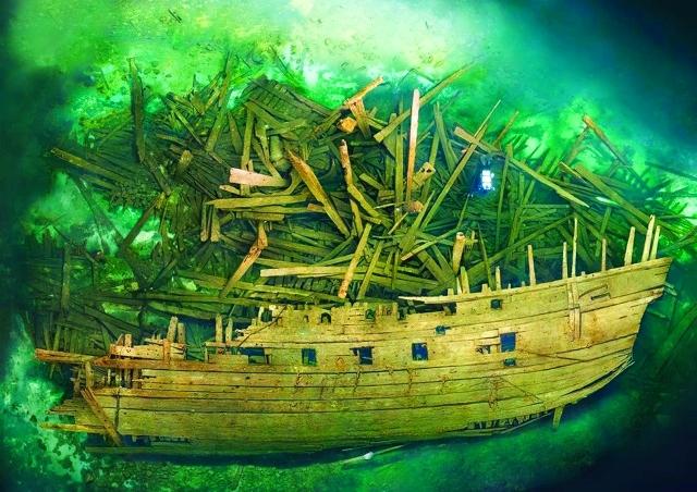 الصورة : سفن في قاع البحر