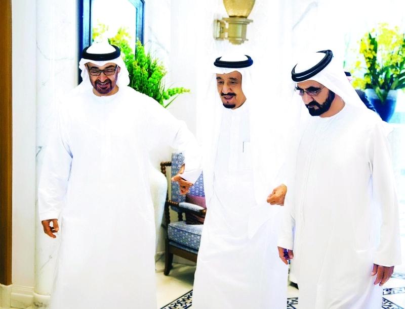 الصورة : الصورة 3: تتويج استراتيجي للعلاقات برعاية سلمان بن عبد العزيز ومحمد بن راشد ومحمد بن زايد ــ  أرشيفية