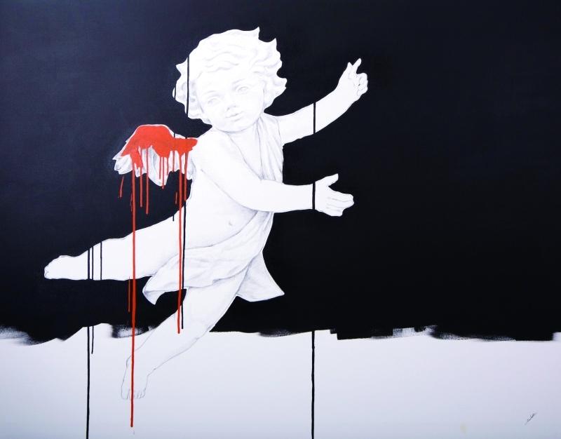 طفل من دمشق لوحة للفنان الجزائري الأصل صادق رحيم من غاليري «المرهون»