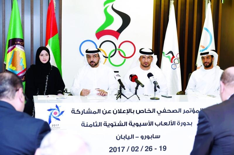 خلال المؤتمر الصحافي للإعلان عن المشاركة الإماراتية الآسيوية الشتوية