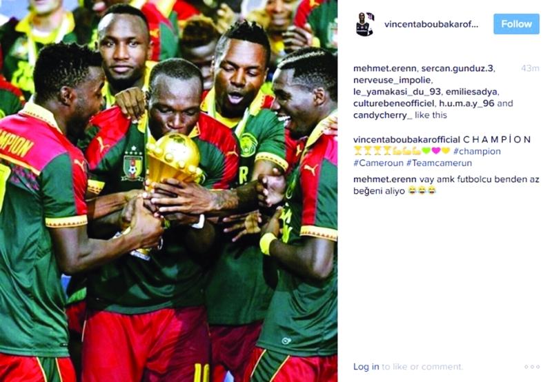 ■ فانسون أبوبكر يحتفل بالفوز عبر «انستغرام»
