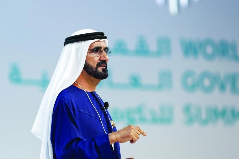 الصورة : محمد بن راشد متحدثاً خلال الجلسة الحوارية في القمة العالمية للحكومات  |  تصوير: خليفة اليوسف ومحمد هشام