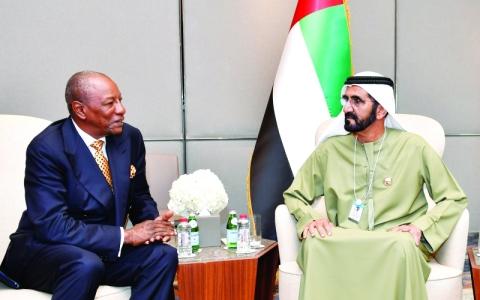 الصورة: الصورة: محمد بن راشد يبحث التعاون مع رئيس غينيا وأمين عام الأمم المتحدة
