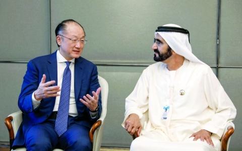 الصورة: الصورة: محمد بن راشد يستقبل رئيس مجموعة البنك الدولي