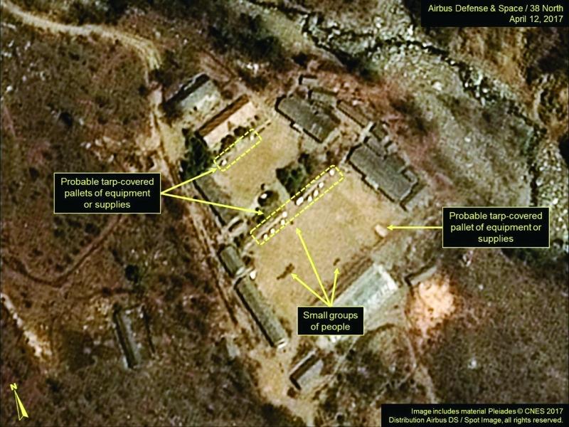 ■ صورة ملتقطة بالقمر الصناعي تظهر مواقع التجارب النووية لبيونغ يانغ     أ.ف.ب