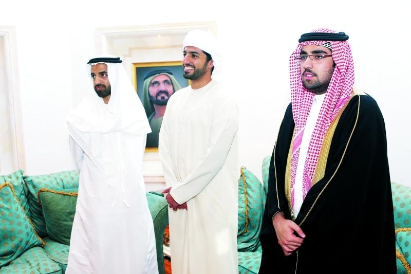 محمد بن سعود وراشد بن حميد خلال العزاء