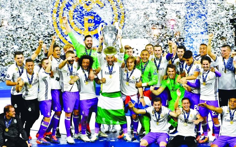 الصورة : ■ ريال مدريد يعزز رقمه القياسي في دوري الأبطال     إي بي إيه