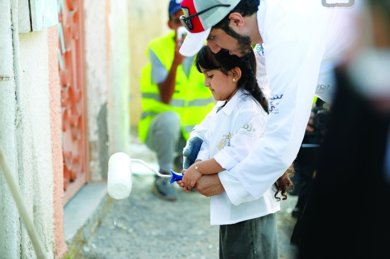 الصورة : مشاركة الأطفال في مبادرة ترميم جدران المساكن
