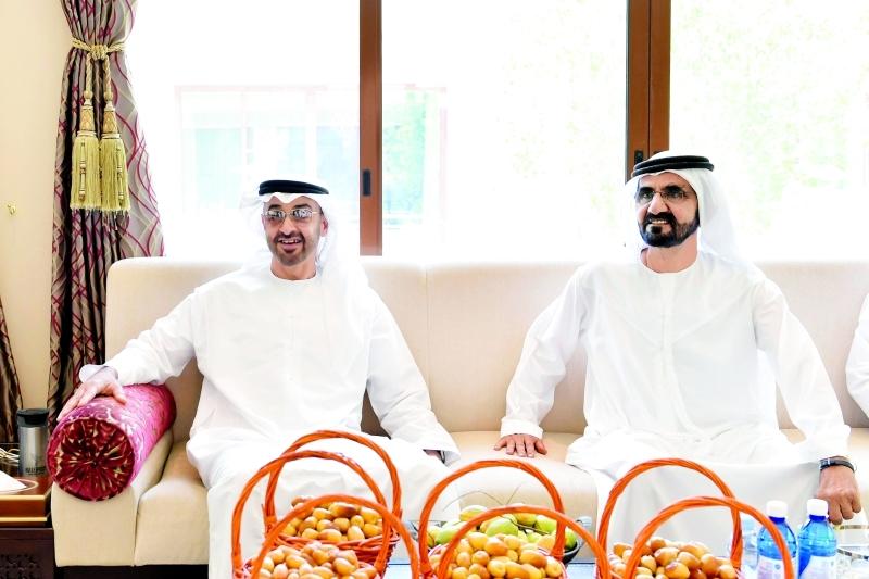 محمد بن راشد ومحمد بن زايد خلال اللقاء  |  تصوير: سيف محمد وريان كارتر