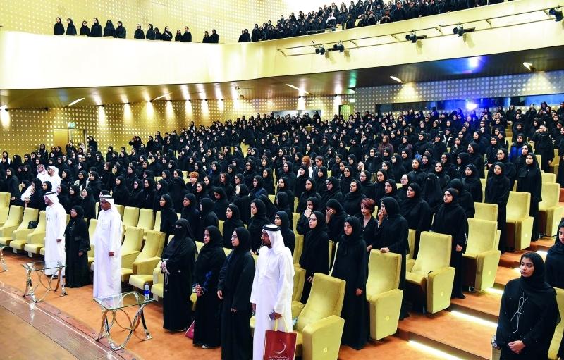 خلال السلام الوطني في افتتاح برنامج الإرشاد الأكاديمي | من المصدر