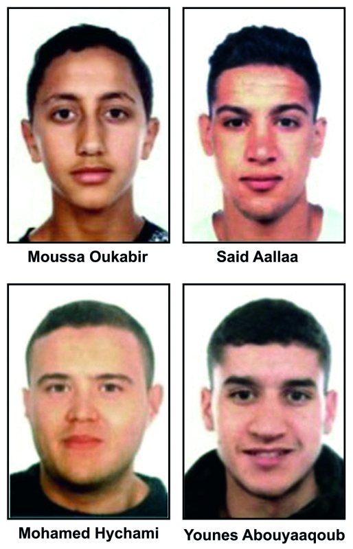 الصورة : صورة مركبة تظهر المشتبه بهم في اعتداءي برشلونة إي.بي.إيه