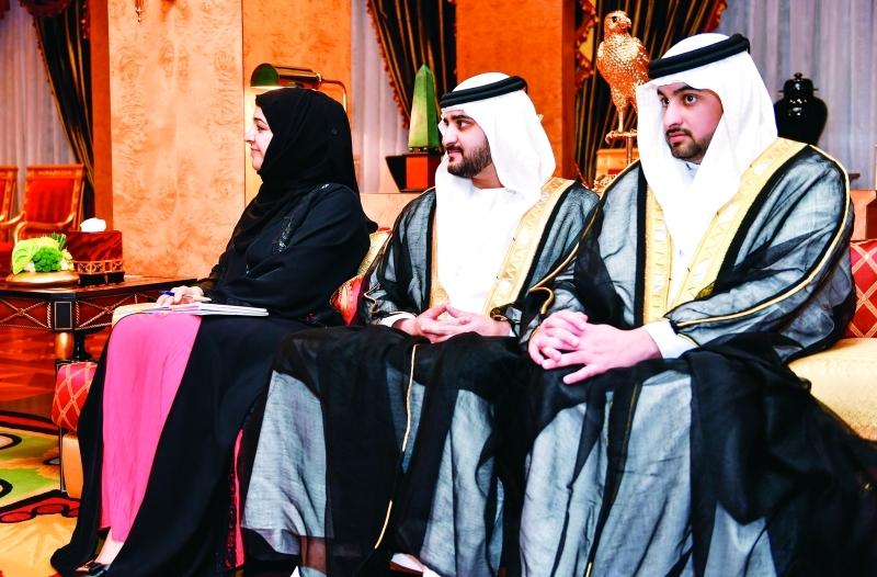 الصورة : ■ مكتوم وأحمد بن محمد وريم الهاشمي خلال اللقاء