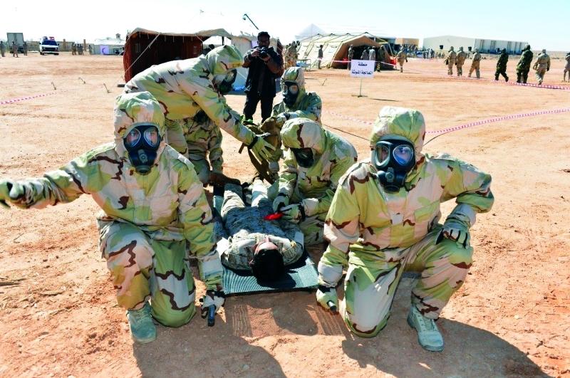 الصورة : القوات السعودية والأردنية خلال عملية وهمية لإخلاء مصابين