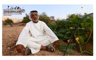 """الصورة: مزارع إماراتي يشدو بـ """"الشلة"""" في قريته برؤوس الجبال!"""