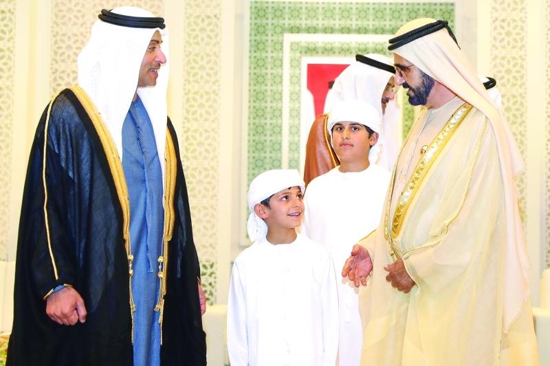 الصورة : محمد بن راشد وهزاع بن زايد ومحمد وحمدان بن منصور