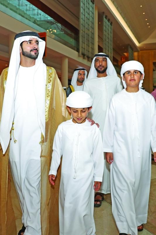 الصورة : حمدان بن محمد ومحمد بن سعود ومحمد وحمدان بن منصور خلال الحفل