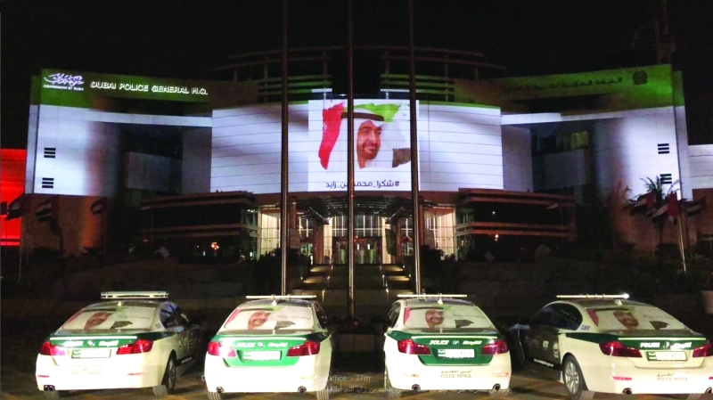 الصورة : جانب من مشاركة شرطة دبي في حملة #شكرا_محمد_بن_زايد | البيان