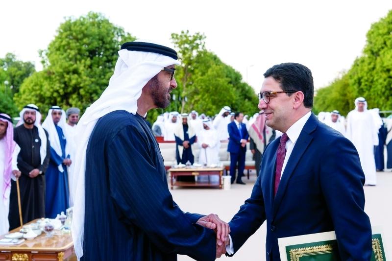 الصورة : Ⅶ محمد بن زايد خلال استقباله ناصر بوريطة