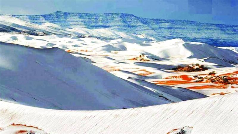 صورة نشرتها مواقع إخبارية جزائرية للثلوج في الصحراء