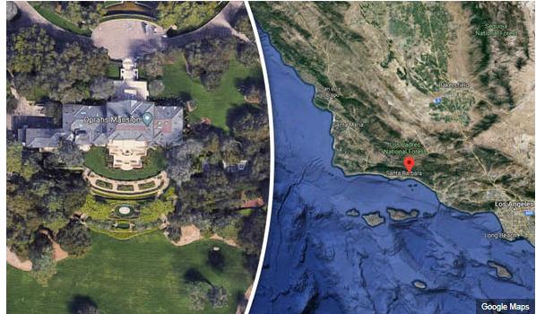 الصورة : صورة (قبل وبعد) التقطتها خرائط جوجل لقصر أوبرا وينفري
