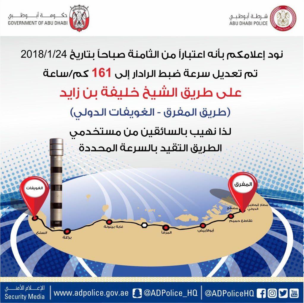 تعديل السرعة على طريق الشيخ خليفة بن زايد «المفرق-الغويفات» إلى 160