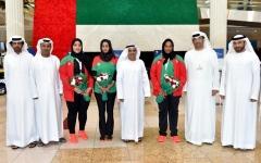 الصورة: استقبال بالورود لـ«قوى سيدات شباب الأهلي - دبي»