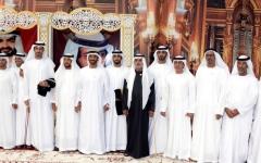 الصورة: نهيان وسيف وخالد بن زايد يحضرون أفراح العامري