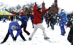 الصورة: تراشق بالثلج قرب مبنى الكابيتول بواشنطن