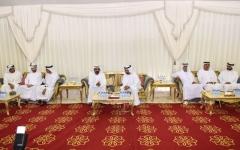 الصورة: محمد بن راشد وحاكما أم القيوين   ورأس الخيمة يعزّون في وفاة عويضة الخييلي