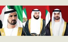 الصورة: خليفة ومحمد بن راشد ومحمد بن زايد  والحكام يهنئون الرئيس المصري بانتخابه