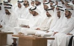 الصورة: محمد بن زايد يشهد محاضرة «اختطاف الدين واستراتيجية استعادته» في مجلس البطين