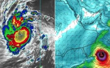 """الصورة: الأرصاد السعودية تعلن انتهاء الحالة الحرجة للإعصار """"مكونو"""""""