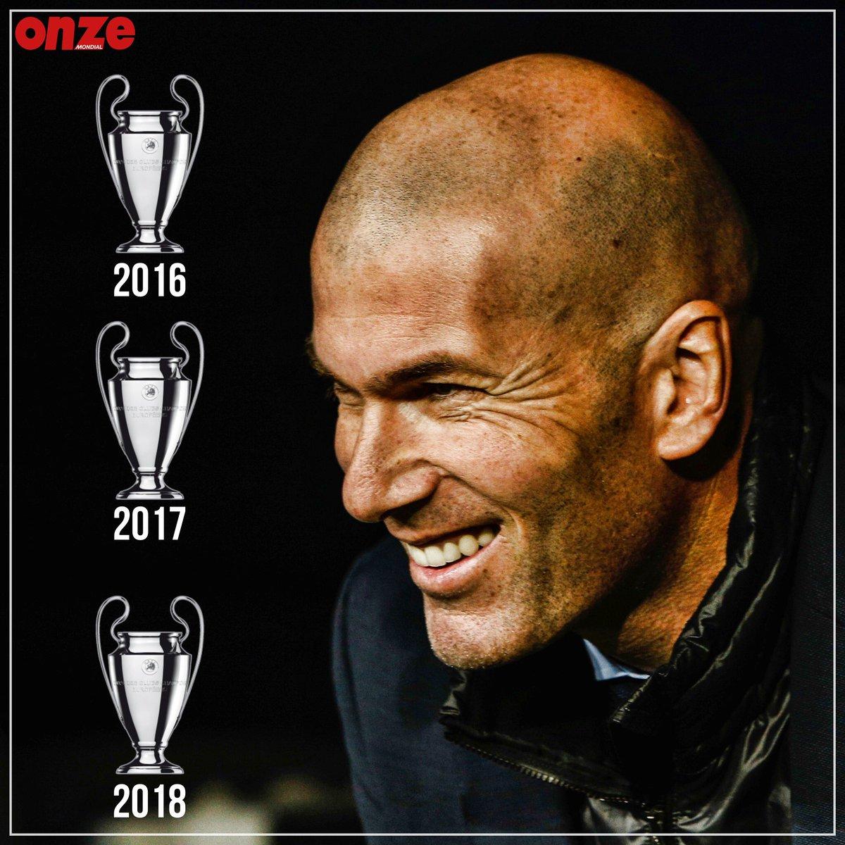 زيدان أول مدرب يفوز بلقب دوري أبطال أوروبا ثلاث مرات متتالية