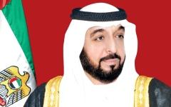 الصورة: خليفة ومحمد بن راشد ومحمد بن زايد يهنئون رئيس جورجيا بالاستقلال