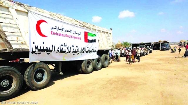 100 UAE trucks providing humanitarian aid and food aid to
