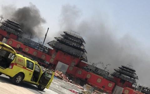 الصورة: حريق في القرية العالمية ولا إصابات