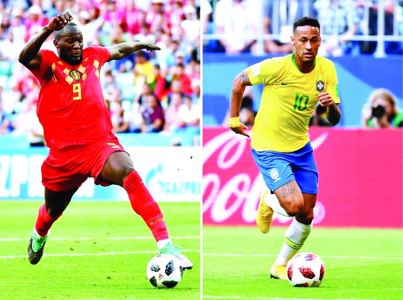 (COMBO) This combination of photos created on July 4, 2018 shows Belgium's forward Romelu Lukaku in Sochi on June 18, 2018 (L) and Brazil's forward Neymar in Samara on July 2, 2018. Brazil will face Belgium in their Russia 2018 World Cup quarter-final football match at the Kazan Arena in Kazan on July 6, 2018. / AFP / Nelson ALMEIDA AND Emmanuel DUNAND