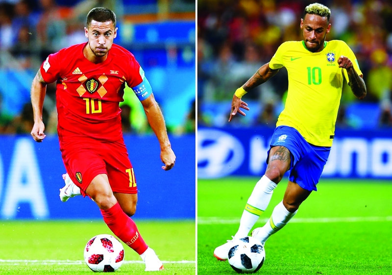(COMBO) This combination of photos created on July 4, 2018 shows Belgium's forward Eden Hazard in Rostov-On-Don on July 2, 2018 (L) and Brazil's forward Neymar in Moscow on June 27, 2018. Brazil will face Belgium in their Russia 2018 World Cup quarter-final football match at the Kazan Arena in Kazan on July 6, 2018. / AFP / Patrik STOLLARZ AND Odd ANDERSEN