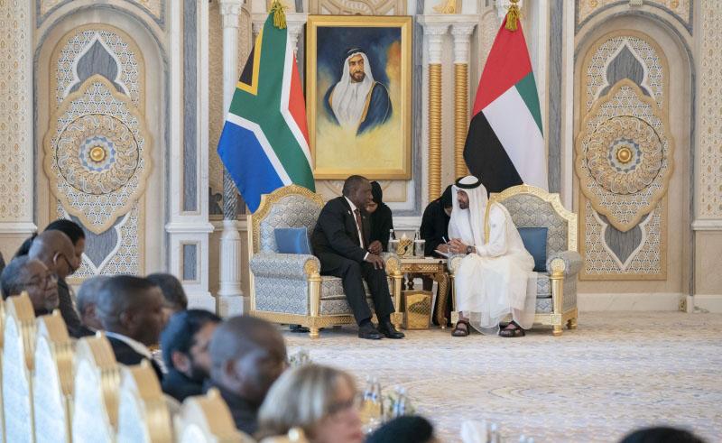 محمد بن زايد يبحث مع رئيس جنوب أفــريقيا تعزيز التعاون المشترك